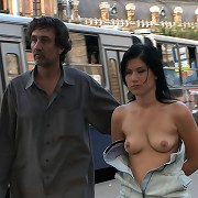 Brunette forced to walk in crowd with cum-covered face