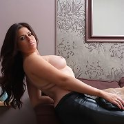 Gorgeous Leanne has her soft skin covered in leather