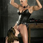 Muscle domme Heather dominates bdsm area dame Keiko, with clothespins, leather, and more