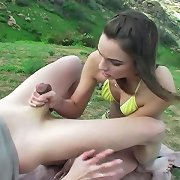 Amber Rayne kicks and punches  her attackers balls