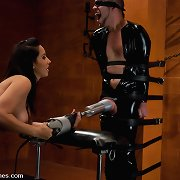 Slave stud was fucked with artificial cookie by hawt brunet.