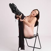 Masturbating brunette hair is so turned on by her hawt leather boots
