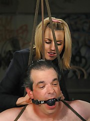 Blonde mistress humiliated and fuck slave