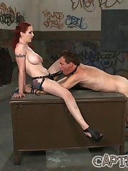 The redhead domina punished slave