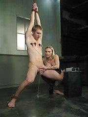 The blonde mistress tormented a tied slaveboy