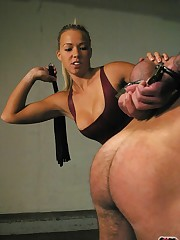 Two dominas tormented man