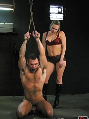 The malesub was tied, punished and fucked