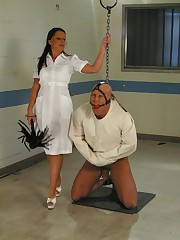The brunette mistress tormented the crazy slave