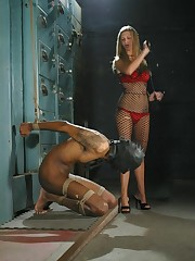 Blonde domina uses slaveboy