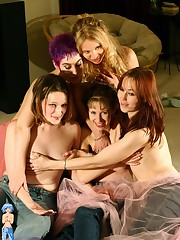 hot party chicks getting naked laughing together