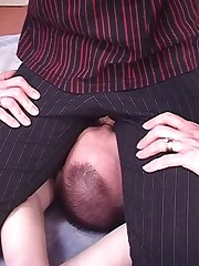 Sexy chick sat on slave