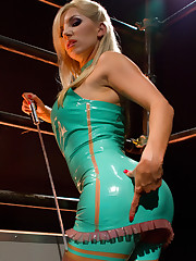 Sexy babe in latex was fucking man's ass with strap-on.