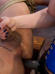 Blond was fucking man's ass while jerking off his dick.