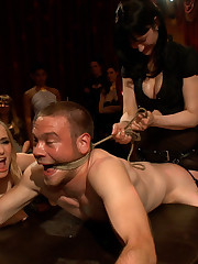 Forty mistress gang fucked a male slave