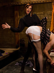 Mistress made a slave be sissy and fucked him