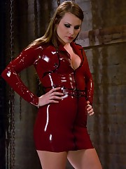 A slaveboy is and meal for latex dominatrix