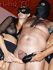 Two dominatrixes fucks submissive boy