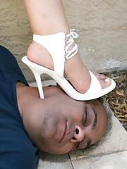 Outdoor trampling in white heels