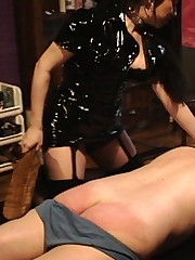 Kinky Slut in black PVC abuses his cock