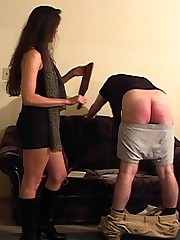 girlfriend with paddle has had enough of her mans shit