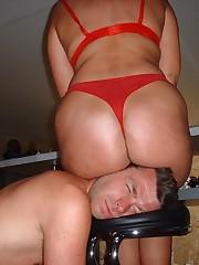 Brunette girl sat on her slave