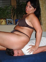 Hot babe smothered man
