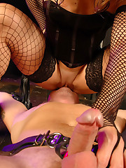 Euro mistress stretches man-slave and sits on his face making him suck her big clit