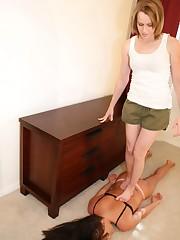 Mistress tramples slavegirl