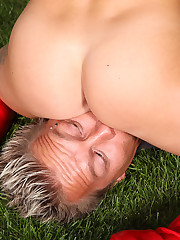 A gardener does participants mowing and serves his strict mistress