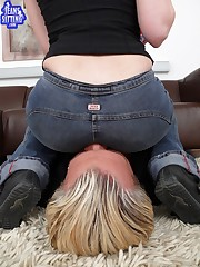 Babe with round ass sat on slave's face