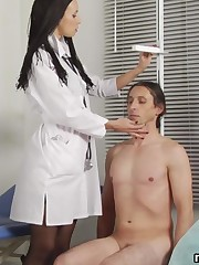Femdom asshole exam and dick measuring