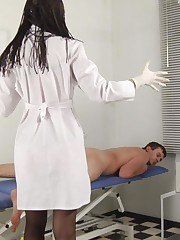 Fearful male patient of two medical dominas