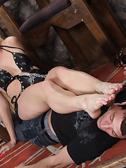 A male slave licked toes and mistress` asshole