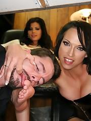 Brunette asian girl sat on slave's face