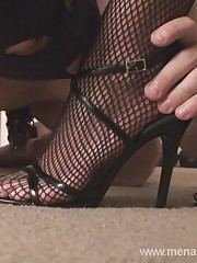 A slave kissed blonde mistress feet