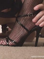 A slave kissed blonde mistress feet