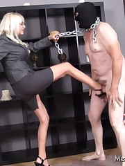 Disobedient slave got punished by kicking his balls