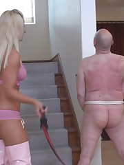 Naked slave whipped by his two cruel Mistresses