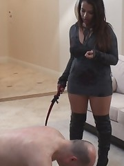 Slave is going to be whipped hard by his Mistress