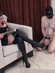 Submissive man with locked dick and nipple clips got humiliated