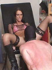 Sexy slut with wide spread legs was licked by slave.