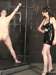 Two mistress was beating their slave while he was bounded.