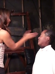 Old slave was beaten hard by his young mistress.