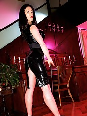 A hard nippled Miss Hybrid wearing latex