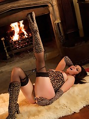 Mistress is weared in the leopard dress