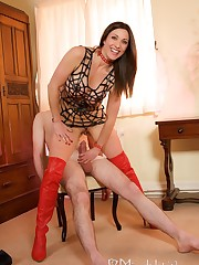 Mistress dominated man and gave him handjob