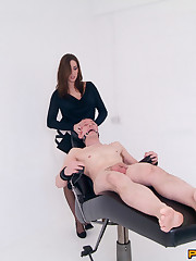 Wayward men are strapped to the milking chair and have their balls emptied by 4 girls