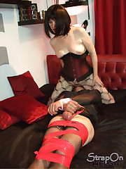 The strapon domina humiliated a sissy boy