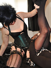 The hot strapon domina are fucking sissy boy