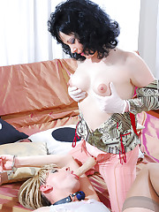 Sadistic strap-on armed mistress abuses her lover for her delight only